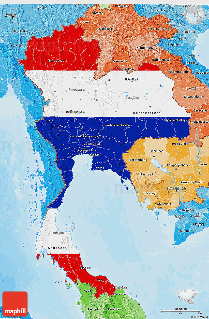 Flag 3d Map Of Thailand Political Shades Outside