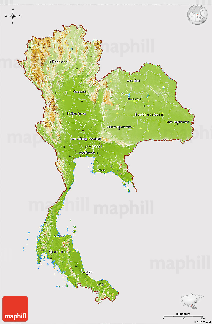 Physical 3D Map of Thailand, cropped outside
