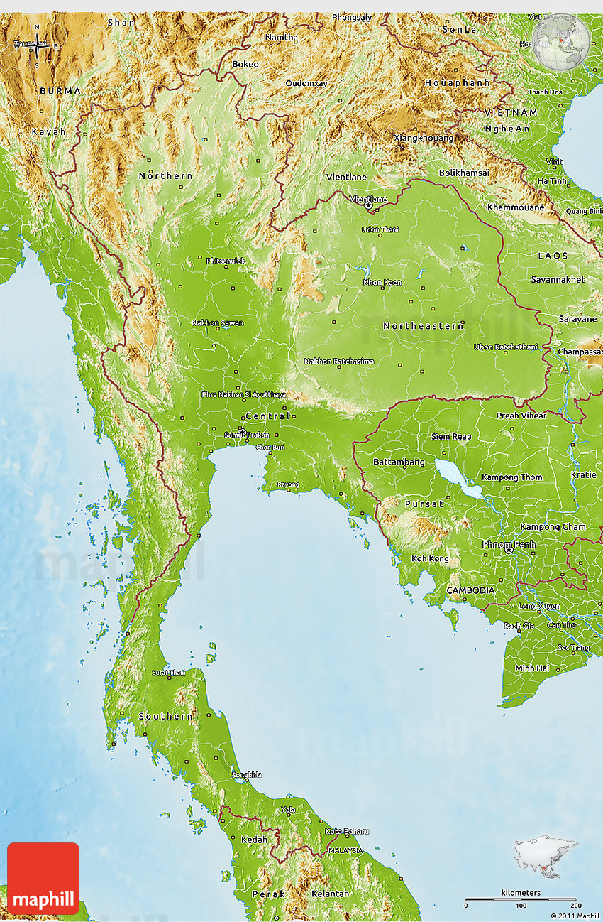 Physical 3D Map of Thailand