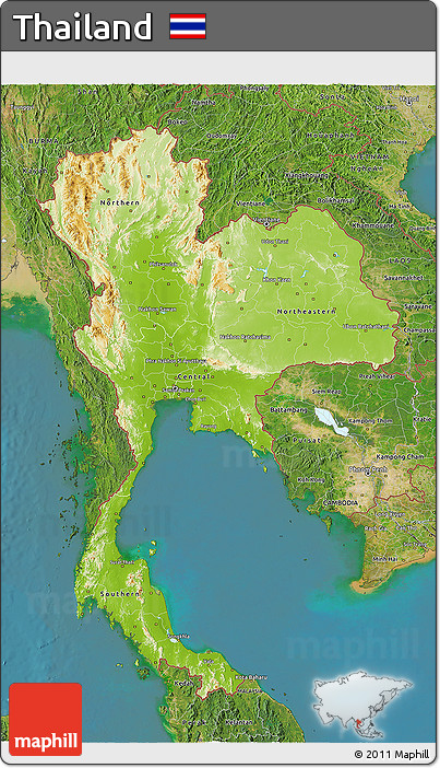 Free Physical 3D Map of Thailand satellite outside
