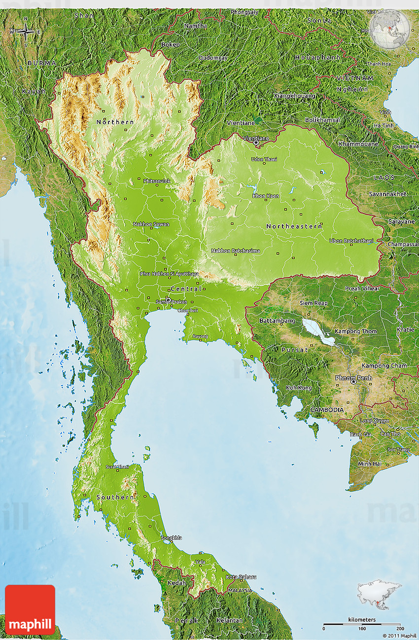 Thailand Topographic Map.Physical 3d Map Of Thailand Satellite Outside Shaded Relief Sea
