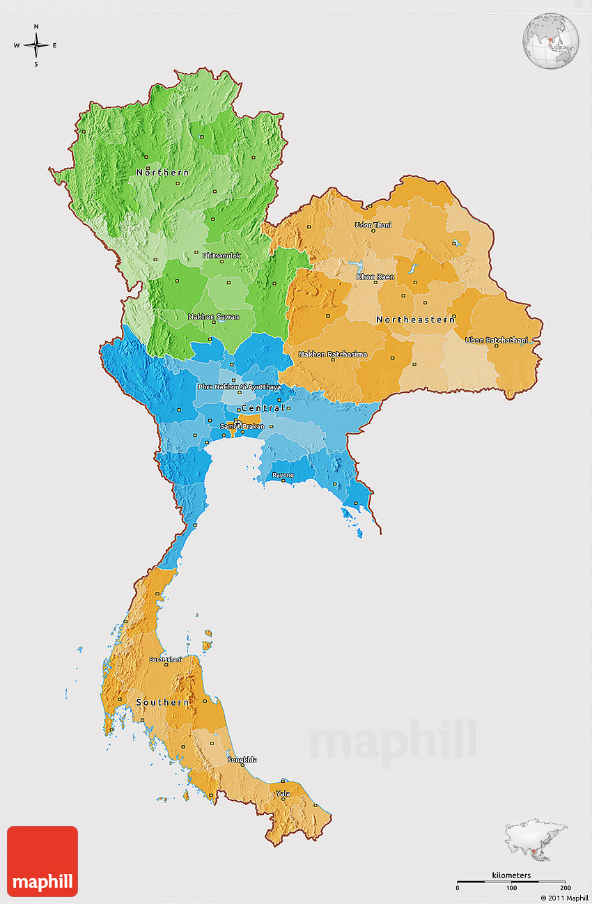 Political 3d Map Of Thailand Cropped Outside