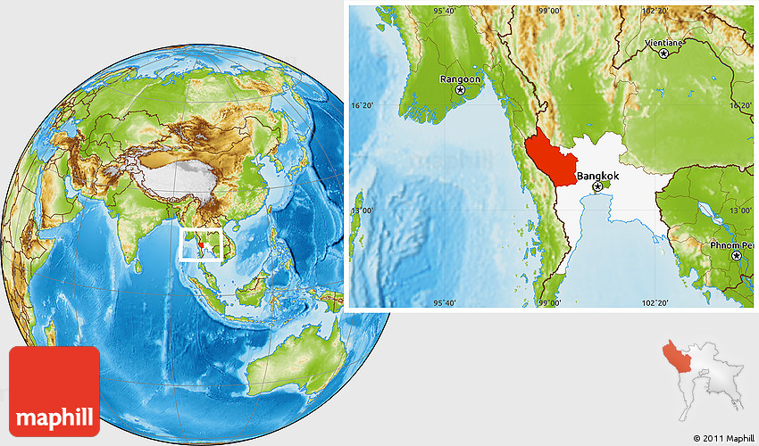 Physical Location Map of Kanchanaburi highlighted parent region