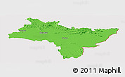 Political Panoramic Map of Prachin Buri, cropped outside