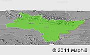 Political Panoramic Map of Prachin Buri, desaturated
