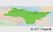 Political Panoramic Map of Prachin Buri, lighten