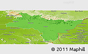 Political Panoramic Map of Prachin Buri, physical outside