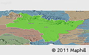 Political Panoramic Map of Prachin Buri, semi-desaturated