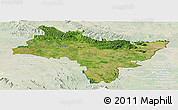 Satellite Panoramic Map of Prachin Buri, lighten