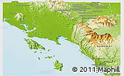 Physical Panoramic Map of Trat