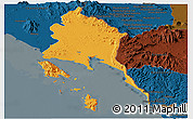 Political Panoramic Map of Trat, darken