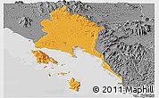 Political Panoramic Map of Trat, desaturated