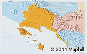 Political Panoramic Map of Trat, lighten