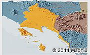 Political Panoramic Map of Trat, semi-desaturated