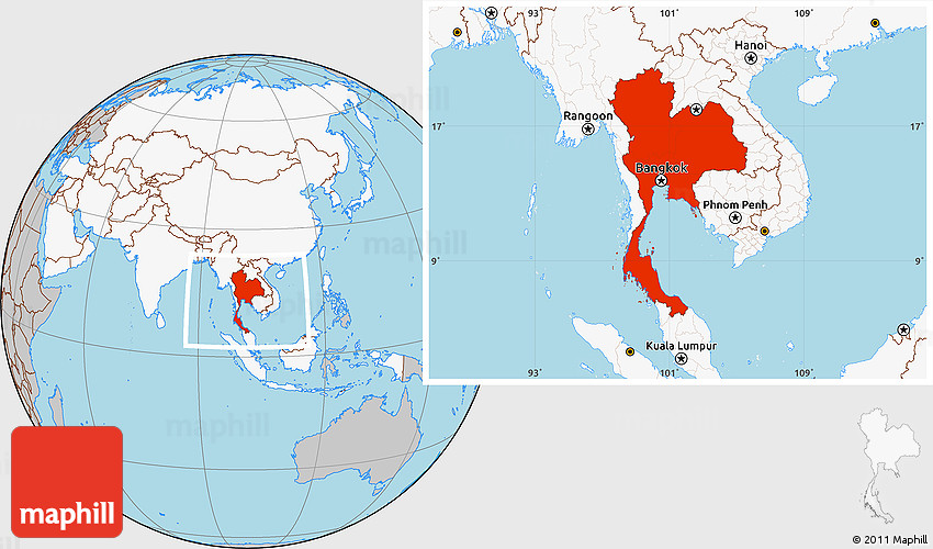 Gray Location Map Of Thailand Highlighted Continent - Where is thailand located