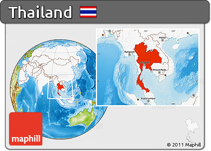 ... Highlighted Continent Physical Location Map Of Thailand, Highlighted  Continent