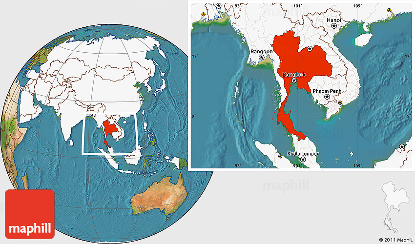 Satellite Location Map of Thailand, highlighted continent