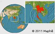 Satellite Location Map of Thailand