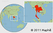 Savanna Style Location Map of Thailand