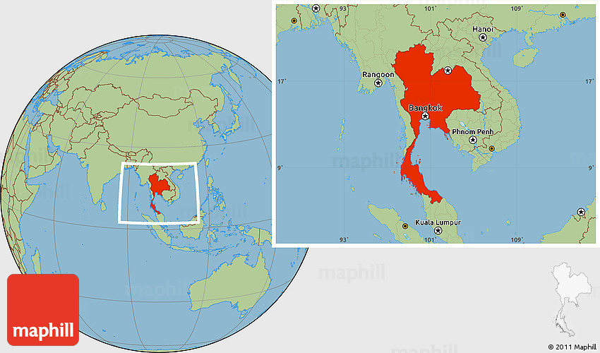 Savanna Style Location Map Of Thailand - Where is thailand located