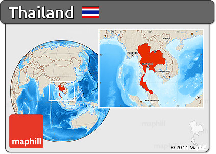 Shaded Relief Location Map of Thailand