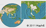 Shaded Relief Location Map of Thailand, satellite outside