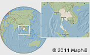 Shaded Relief Location Map of Thailand, savanna style outside, hill shading