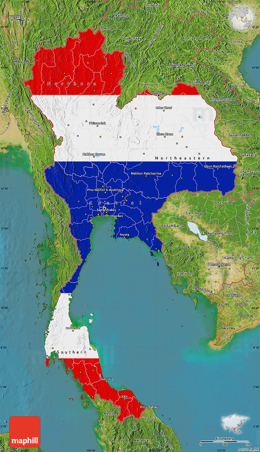 flag map of thailand  satellite outside