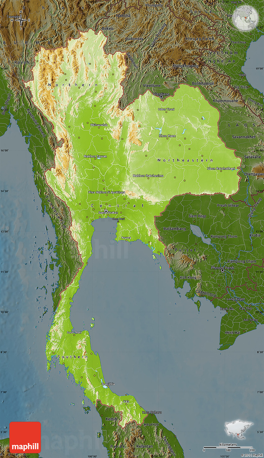 Thailand Topographic Map.Physical Map Of Thailand Darken