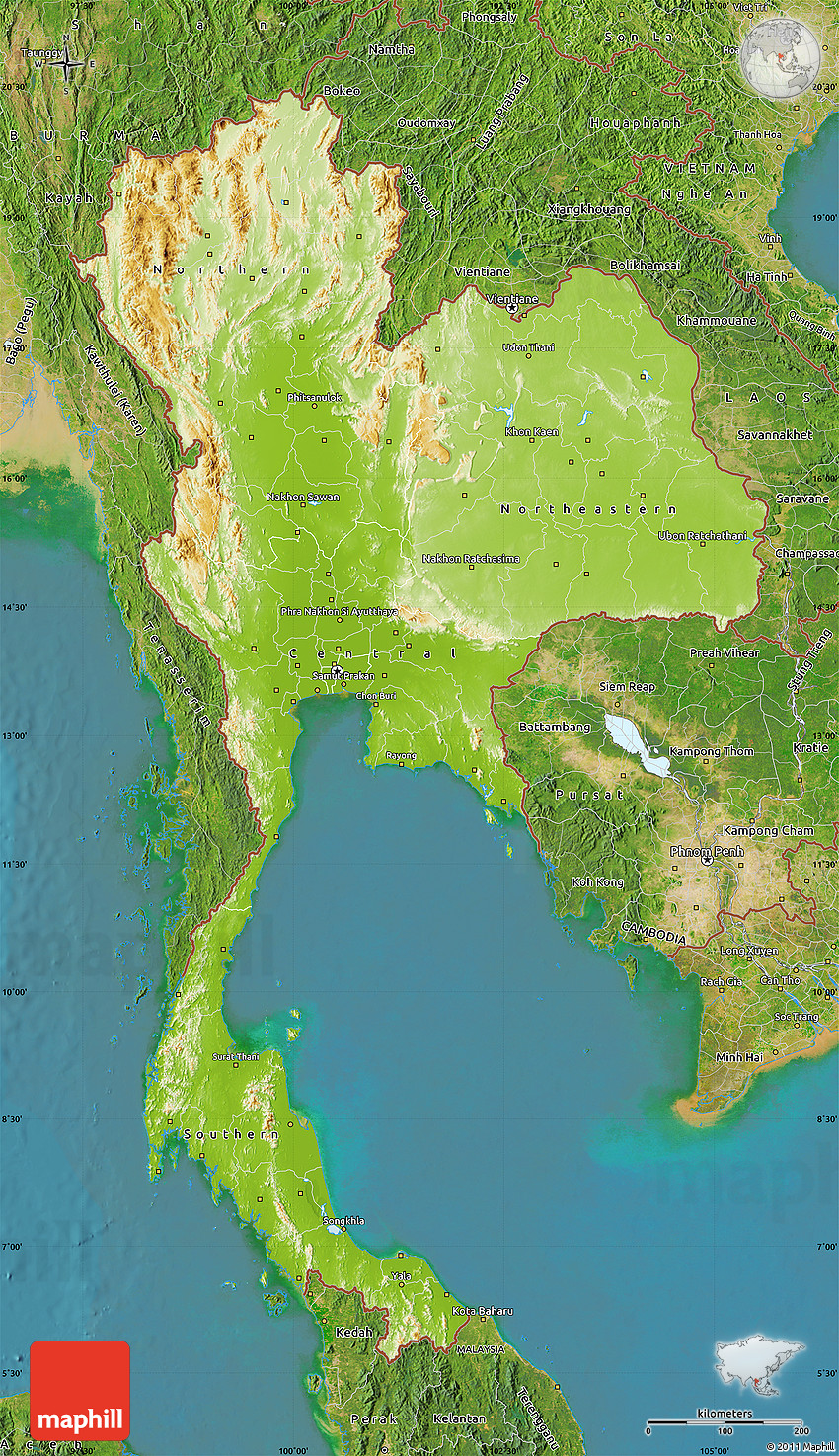 Physical Map of Thailand satellite outside