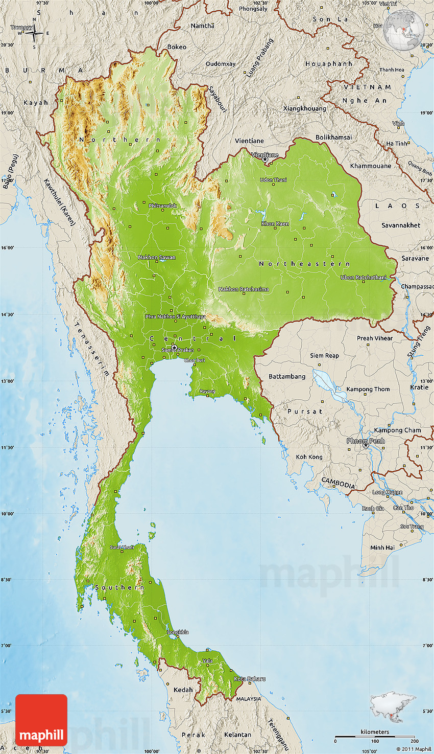 Physical Map of Thailand, shaded relief outside