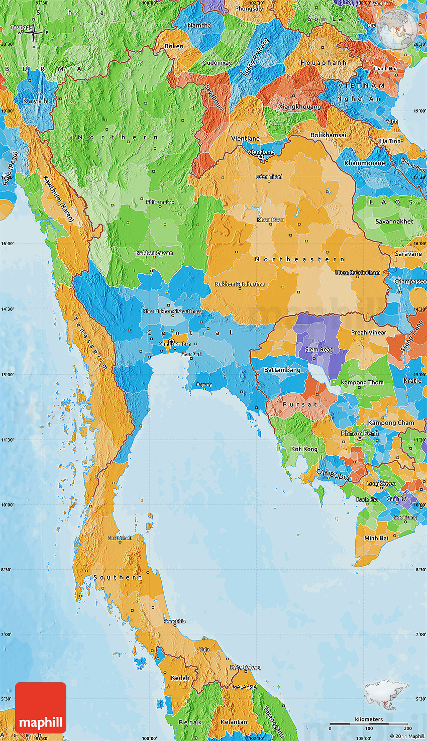 Political Map Of Thailand