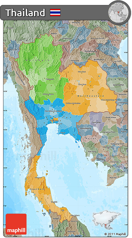 Free Political Map of Thailand, semi-desaturated, land only