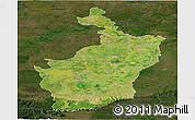 Satellite Panoramic Map of Buri Rum, darken