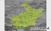 Satellite Panoramic Map of Buri Rum, desaturated