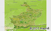 Satellite Panoramic Map of Buri Rum, physical outside