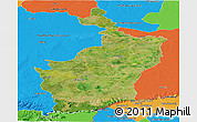 Satellite Panoramic Map of Buri Rum, political outside