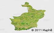 Satellite Panoramic Map of Buri Rum, single color outside