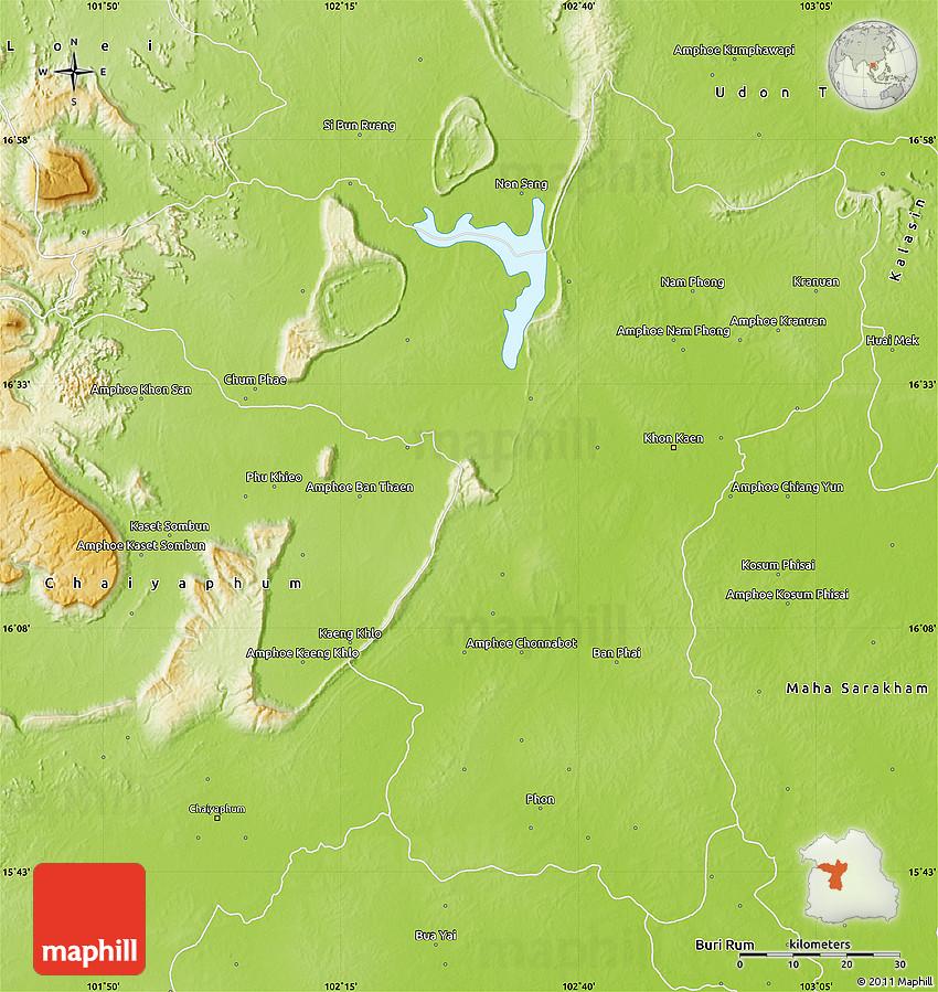 Physical Map Of Khon Kaen