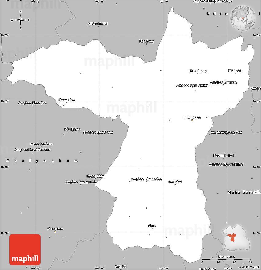 Gray Simple Map Of Khon Kaen