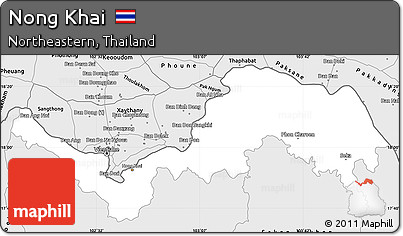 Nong Khai Thailand Map.Free Silver Style Simple Map Of Nong Khai