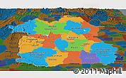 Political Panoramic Map of Northeastern, darken