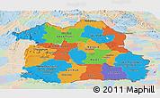 Political Panoramic Map of Northeastern, lighten