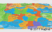 Political Panoramic Map of Northeastern, political shades outside