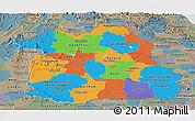 Political Panoramic Map of Northeastern, semi-desaturated