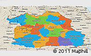 Political Panoramic Map of Northeastern, shaded relief outside
