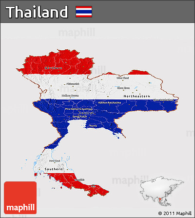 Flag Panoramic Map of Thailand