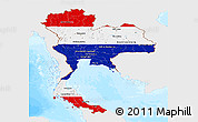 Flag Panoramic Map of Thailand, single color outside, bathymetry sea