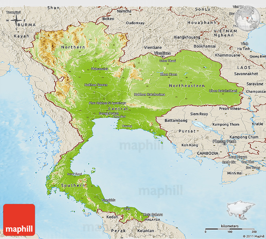 Physical Panoramic Map of Thailand, shaded relief outside