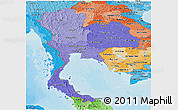 Political Shades Panoramic Map of Thailand